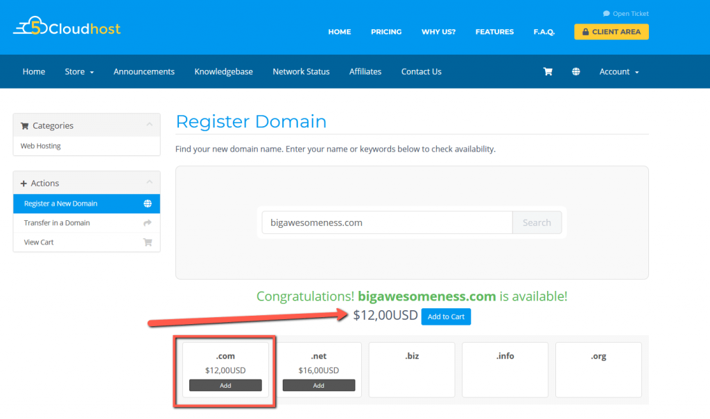 5Cloudhost Domain Pricing