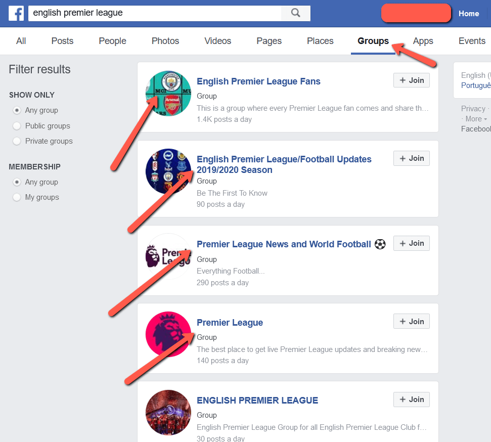 EPL FB Groups