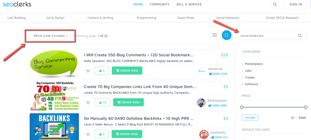 Social Bookmark Gig on Seoclerks by Pricing