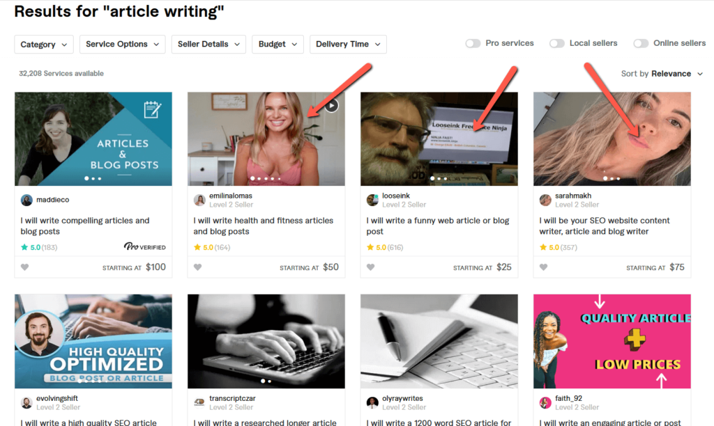 Article Writing Gig on Fiverr