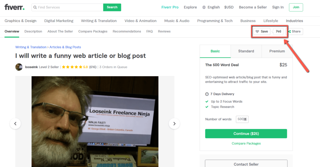 Article Writing Gig on Fiverr With High Favourites 2