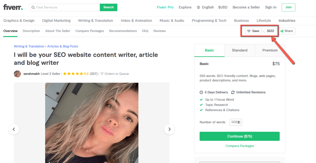 Article Writing Gig on Fiverr With High Favourites 3
