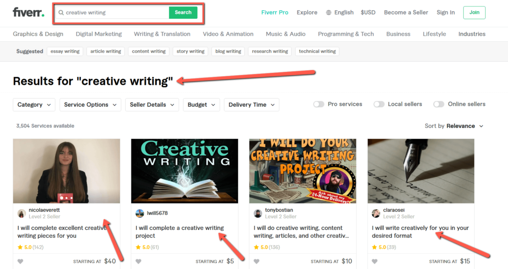 Fiverr Gig Order in Queue Search